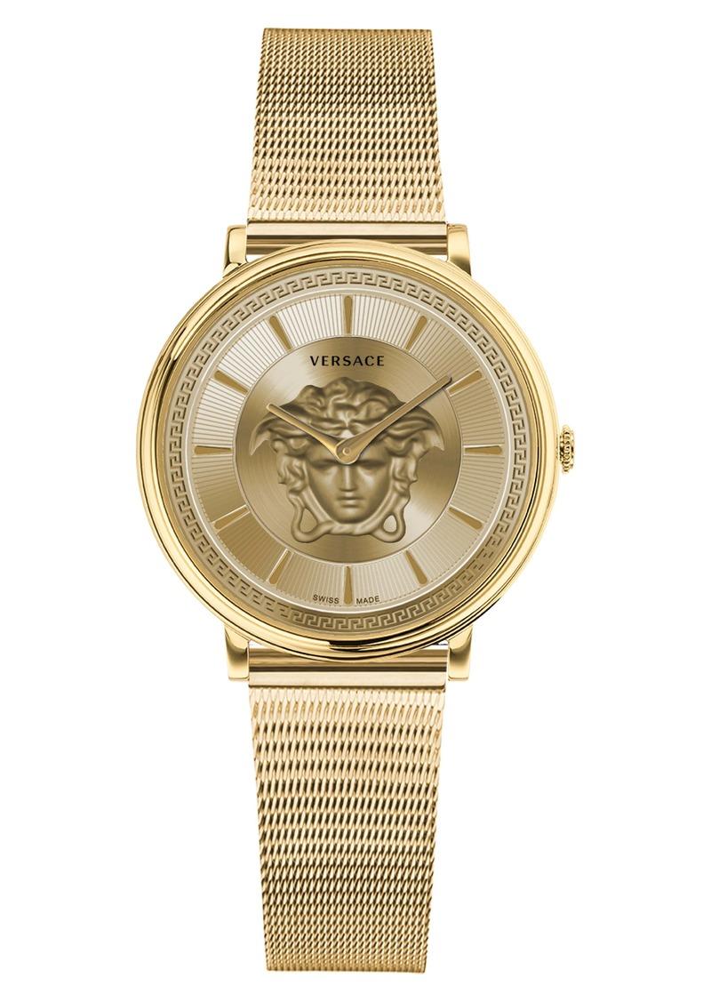 Versace V-Circle Mesh Strap Watch, 38mm