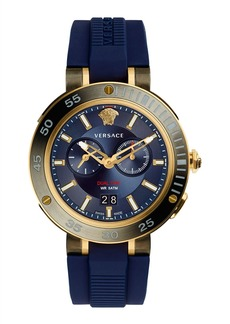 Versace V-Extreme Pro Multifunction Dual Time Watch with Blue Silicone Strap