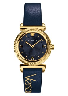 Versace V Motif Leather Strap Watch, 35mm