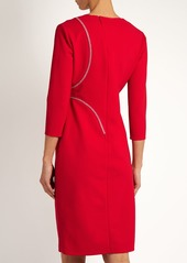 Versace V-neck cross-stitch embroidered dress