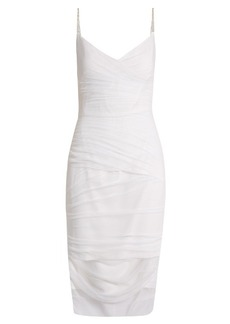 Versace V-neck ruched tulle slip dress