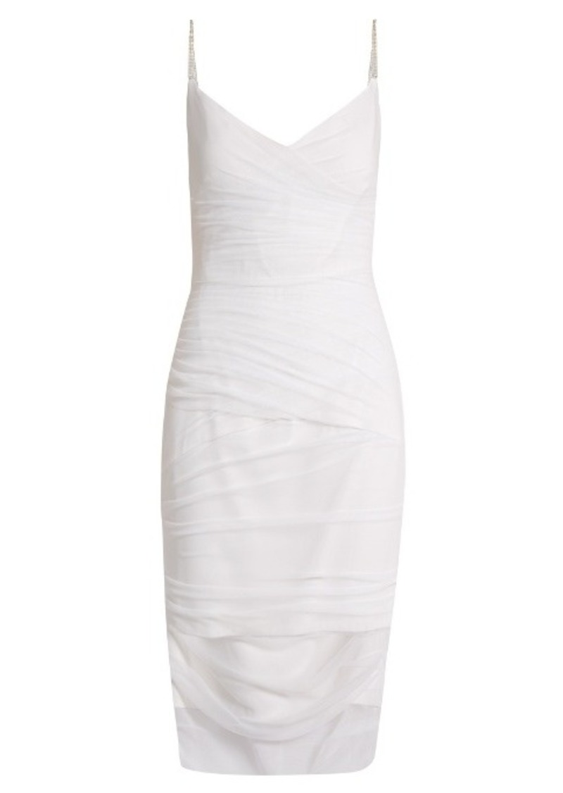 look for buy best new style Versace Versace V-neck ruched tulle slip dress