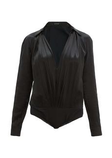 Versace V-neck silk-satin bodysuit