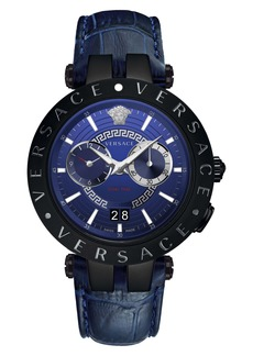 Versace V-Race Dual Time Leather Strap Watch, 46mm