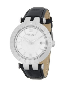 Versace V-Race Silver Dial Leather Watch