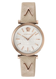 Versace V Twist Leather Strap Watch, 36mm