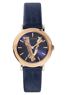 Versace Virtus Leather Strap Watch, 36mm