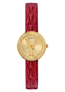 Versace Virtus Mini Leather Strap Watch, 28mm