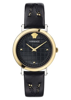 Versace Virtus Texture Dial Leather Strap Watch, 37mm