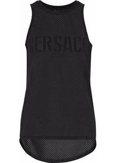 Versace Woman Appliquéd Mesh Tank Black