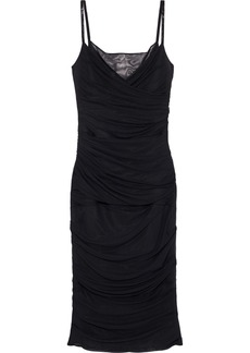 Versace Woman Bead-embellished Ruched Mesh Slip Dress Black
