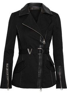 Versace Woman Belted Leather-trimmed Cotton-blend Twill Biker Jacket Black