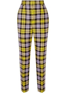 Versace Woman Checked Woven Tapered Pants Yellow