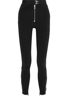 Versace Woman Chiffon And Guipure Lace-trimmed Cady Skinny Pants Black