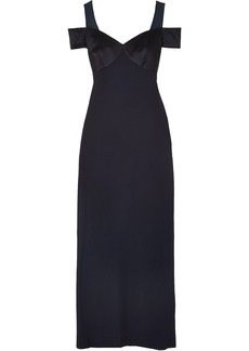 Versace Woman Cold-shoulder Chiffon Satin And Crepe Gown Navy