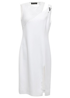 Versace Woman Crochet-paneled Cutout Stretch-crepe Dress White