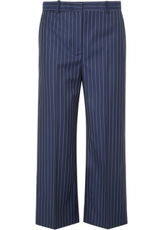 Versace Woman Cropped Pinstriped Wool-twill Straight-leg Pants Indigo
