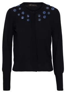Versace Woman Crystal-embellished Wool Cardigan Black