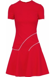 Versace Woman Flared Embroidered Ponte Mini Dress Red