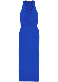 Versace Woman Hooded Crepe Maxi Dress Blue