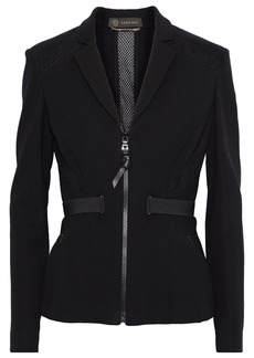 Versace Woman Mesh-trimmed  Stretch-crepe Jacket Black
