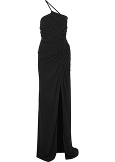 Versace Woman One-shoulder Embellished Ruched Jersey Gown Black