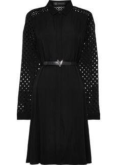 Versace Woman Paneled Crepe De Chine Broderie Anglaise And Crochet Shirt Dress Black