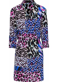 Versace Woman Patchwork-effect Printed Silk Mini Dress Royal Blue