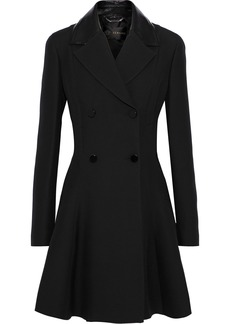 Versace Woman Patent Leather-trimmed Wool And Silk-blend Coat Black