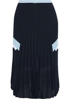 Versace Woman Pleated Stretch-knit Skirt Midnight Blue