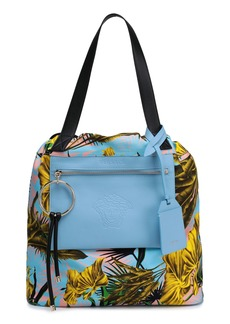 Versace Woman Printed Twill And Leather Tote Light Blue