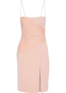 Versace Woman Ruched Chiffon-paneled Silk-crepe Dress Blush