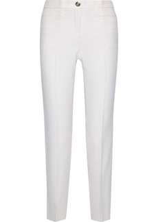 Versace Woman Silk-cady Slim-leg Pants Off-white