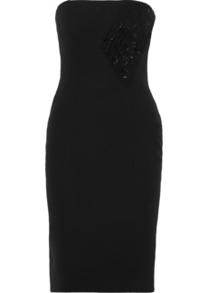 Versace Woman Strapless Bead-embellished Pleated Silk-crepe Dress Black