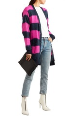 Versace Woman Striped Open-knit Cardigan Navy