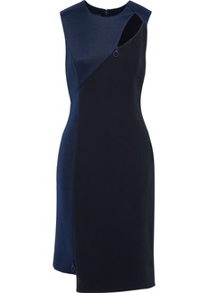 Versace Woman Zip-detailed Cutout Crepe And Stretch-cady Dress Navy