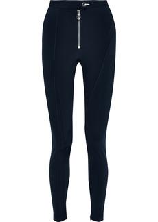 Versace Woman Zip-detailed Stretch Leggings Midnight Blue