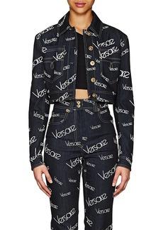 Versace Women's Logo Mania Denim Crop Jacket