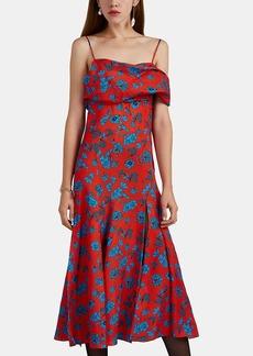 Versace Women's Floral Silk Off-The-Shoulder Midi-Dress