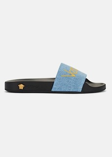 Versace Women's Logo Denim Slide Sandals