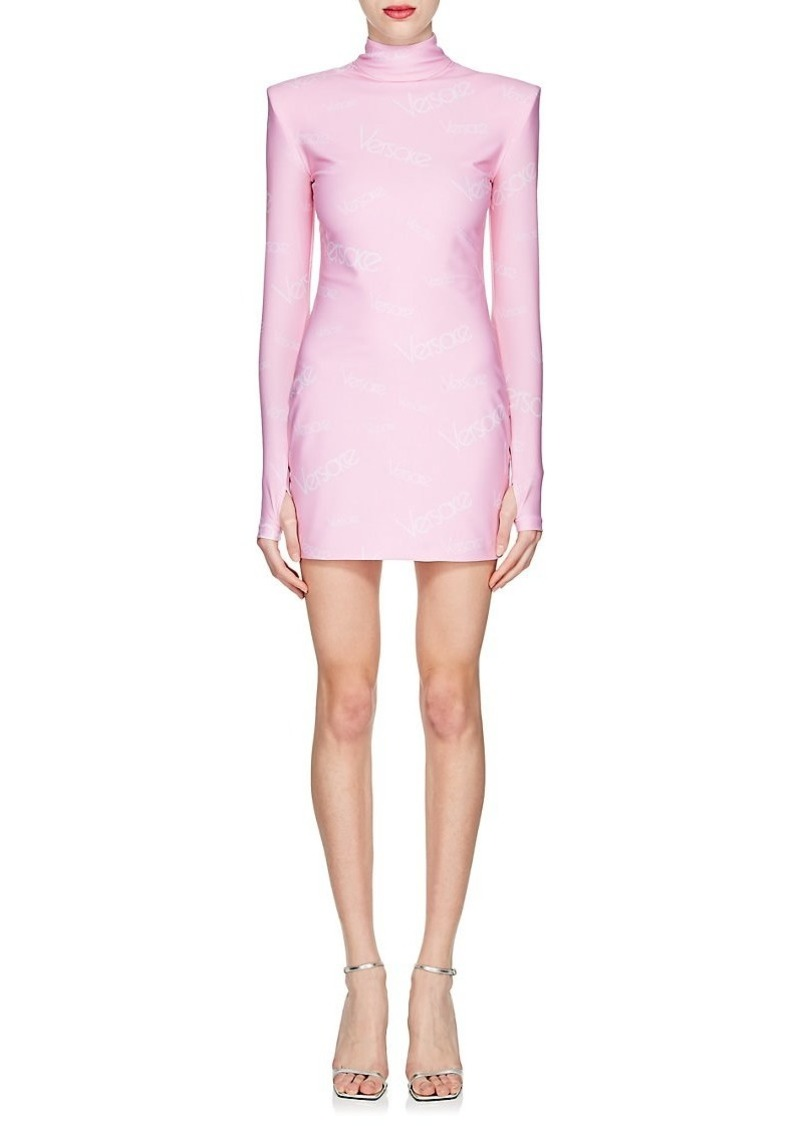 Womens Logo-Print Turtleneck Minidress Versace t3rru