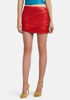 Versace Women's Ruched Leather Miniskirt