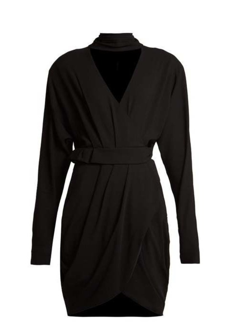 Versace Wrap-front stretch-crepe mini dress