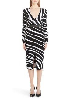 Versace Zebra Long Sleeve Body-Con Sweater Dress