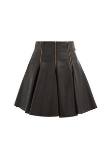 Versace Zip-embellished pleated leather mini skirt