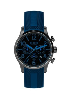 Versace Versus Naboo Black-Plated Stainless Steel Chronograph Silicone Strap Watch