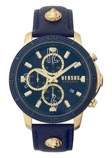 VERSUS Versace Bicocca Leather Strap Watch, 46mm
