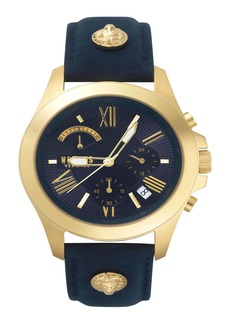 VERSUS Versace Lion Chronograph Leather Strap Watch, 44mm