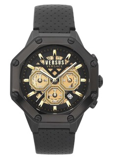 VERSUS Versace Palestro Chronograph Leather Strap Watch, 45mm