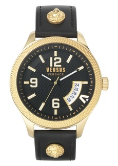 VERSUS Versace Reale Leather Strap Watch, 44mm